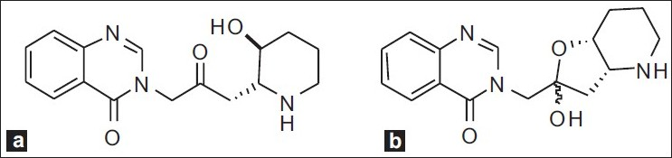 Figure 1 :(a) Febrifugine and (b) Iso-febrifugine